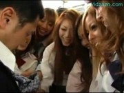 Many Schoolgirls Patting Guy Rubbing Jerking Cock On The Bus