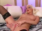 Hot blonde lingerie tease