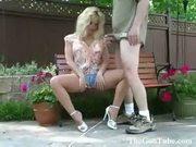 Hot blonde milf banging in pantyhose