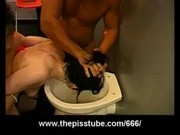Toilet humiliation with two piss soaked chicks