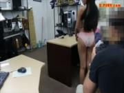 Cute amateur gal selling her old coat and fucked by pawn man