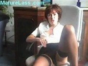 Sexy British Mature talks dirty and spreads legs to show pussy