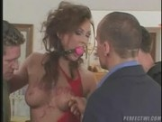 This dirty whore gets fucked by three hard Cocks - Triple Penetration