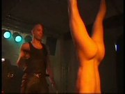 Fetish club punishment on stage of blonde slavegirl in bonda