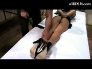 Hot Blackhaired Girl Getting Her Arms And Legs Tied Whipped Ass Tits Licked And Rubbed On The Massag