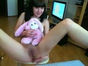 Cute Russian Angela - anal and teddy bear