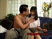 Jap schoolgirl licked by her daddy