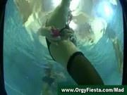 Lesbian orgy in a swimming pool