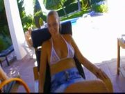 Lorie, a little blonde fucked near the pool