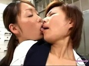2 Office Ladies Stimulating Each Other Pussies With Vibrator Kissing In The Back Of The Bank