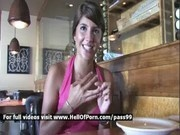 Amateur brunette Melina flashing