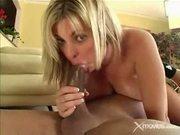 Horny blonde bitch fucks a big hard dick