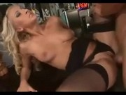 Blonde Secretary Rides In Stockings SM65