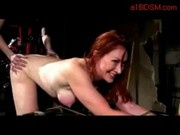 Redhead Girl Getting Her Pussy Fucked With Strapon By Mistress Sucking Masters Cock In The Dungeon