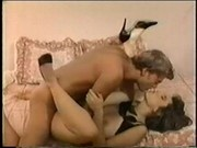Christy Canyon gives it up to some guy who finishes on her b