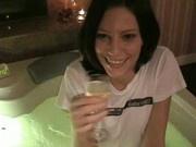 Sweet amateur girl in bathtub