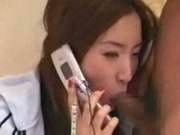 Asian watching tv talking on the phone and having sex