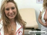 Two Blonde Nurses Giving Wet Blowjob In Hospital Room