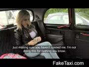Blonde girl in sexy taxi