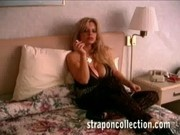 Hot blond mistress dominates guy with a strapon dildo