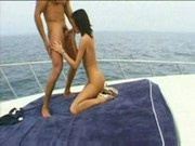 teenage babe fucking very hardly with two guys in Boat