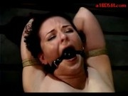 Bondaged Girl Spanked With Stick Getting Her Pussy Fucked In The Dungeon