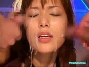 Asian Girl Standing With Tied Arms Getting Enema To Pussy Fucked With Toy Getting Facials On The Flo