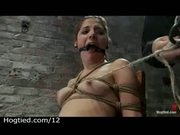 Bound in the chair pussy vibrated in dungeon