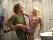 Blonde teen fucked in the bathroom