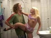 Blonde teen fucked in the bathroom