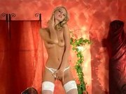 Skinny blonde fingering in white stockings