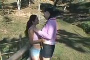 Country brazilian chicks kissing and making out