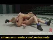 Milf competitor in a battle on the mat