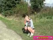 Beautiful skinny teen girl fucked by her runnning coach on the bicycle