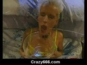 double toying and pissing on slut