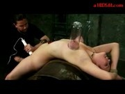 Girl With Tied Legs And Arms Getting Her Tits Vacumed Pussy Fucked And Stimulated With Toys By Maste