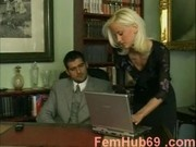 Horny secretary taking big boss cock