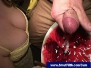 Cum addicted brunette loves her desert with sperm on top