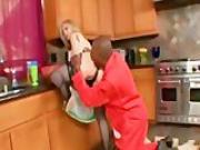 Mature Nina Hartley gets an interracial anal creampie