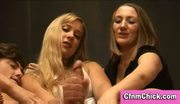 Cfnm babes jerk off naked guy
