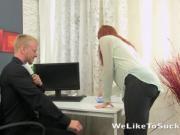 Secretary sucks the boss cock for some cum