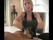sexy girl make a handjob with his leather gloves
