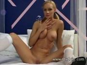 Amazing Blonde Teen Leah Wilde Uses Nice Big Dildos On Her Virgin Pink Pussy