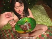 Brunette eats her desert with cum on top
