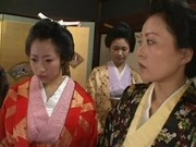 Asian Japanese Freshly Geisha Girl in Kimono learning sex from senior