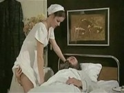 horny nurse giving blowjob to old patient