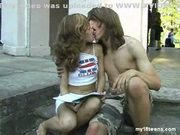 Teens kissing in public