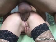 Hot brunette in stockings gets fucked hard by two guys with huge dicks NL-1-01
