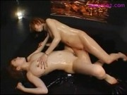 2 Hot Girls In Lingerie Jelly On Body Rubbing Each Other With Tits On The Mattress