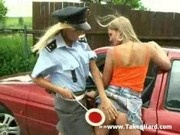 Blond police officer demands